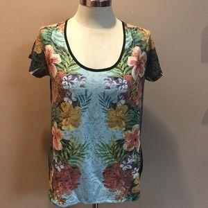 Tropical Hawaiian Rhinestone Floral T-shirt Large
